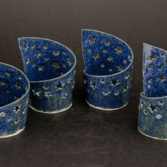 Pierced blue stars candle holder