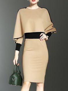 Shop Dresses - Khaki Polyester Paneled Elegant Dress online. Discover unique designers fashion at PopJuLia.com.