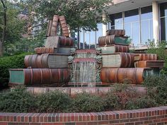 Book Fountain !  I heart this so much... it's in front of a library in Cincinnati, Ohio #literary #sculpture #water #cool