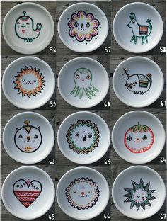 Bright colors and cute characters in these hand painted dishes by Laura Berger.