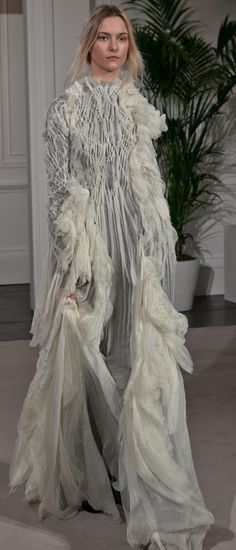 Beautifully draped dress with decorative shirring detail; creative fabric manipulation for fashion design // Lina Michal