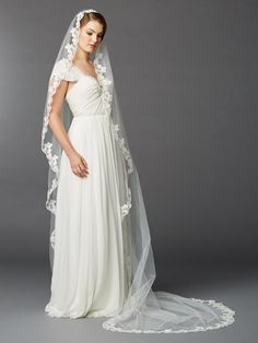 Single Layer Cathedral Mantilla Bridal Veil with Scalloped Lace Edge. Cathedral Mantilla veil will add luxurious style to any wedding gown. Cathedral Wedding Veils, Mantilla Veil, Scalloped Lace, Beaded Lace, Embroidered Lace, Wedding Gowns, Bridal Veils, Lace Wedding, Dream Wedding