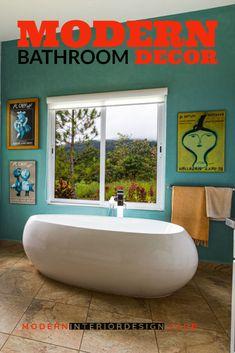 Best Bathroom Decor-Modern Bathroom Decor * Click on the image for additional details. Modern Bathroom Decor, Bathroom Interior, Modern Decor, Funky Lamps, Best Color Schemes, Kinds Of Fabric, Big Design, Room Paint, Home Look