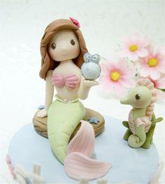 Little Mermaid figurine for birthday cake topper by claydoughandme