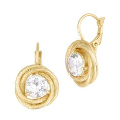 Matte Gold Tone Interlocking Circles with Clear Cubic Zirconia Earrings