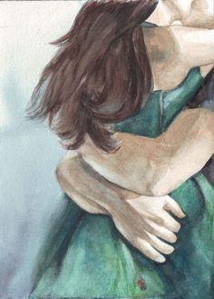Original watercolor painting couple loves kissing art