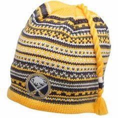 Reebok Buffalo Sabres Gold Northern Lights Tassel Knit Beanie