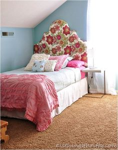 girls room all things thrifty- includes tutorial on how to make a headboard like this