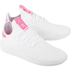 ADIDAS X PHARRELL WILLIAMS PW Tennis White Pink // Special edition... (342.915 COP) ❤ liked on Polyvore featuring shoes, sneakers, white sneakers, pink tennis shoes, tennis shoes sneakers, print shoes and white shoes