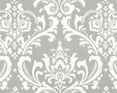 Premier Prints Ozborne- Storm Grey and White Damask- Fabric by the Yard. $8.95, via Etsy.