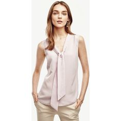 Ann Taylor Silk Tie Neck Shell ($70) ❤ liked on Polyvore featuring tops, soft lotus, pink tank top, neck ties, long tank, pink necktie and v neck tank