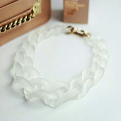 """Matte White Chain Choker Necklace  Unique and beautiful choker necklace in matte white acrylic material. 22"""" in overall length. Golden hardware. Brand new. Jewelry Necklaces"""