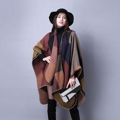 Encontrar Más Bufandas Información acerca de 2016 nueva marca mujeres de  invierno Poncho Vintage manta para 5a3c2ffcf93