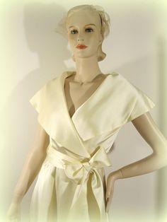 Ivory Wrap Coat Sixties Satin Sash Wedding by modernmatters, $65.00
