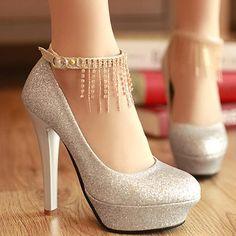 Platform Tassel Silver High Heels