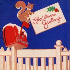 Vintage Art Deco Squirrel on Pillar Post Box Christmas Greetings Card Victorian Christmas, Vintage Christmas Cards, Vintage Holiday, Christmas Greeting Cards, Christmas Greetings, Christmas Mail, Christmas Time, Holiday Time, Winter Holiday