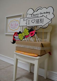 DIY Photo Booth Props, Sign, Backdrop, Prop Display Box by jodi