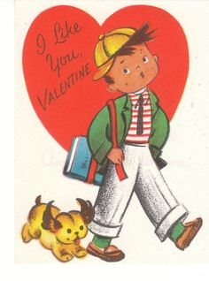 Vintage Valentine Card School Boy and Dog Unused Die Cut For Child