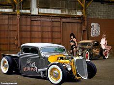 hot rod pin ups Hot Rod Trucks, Old Trucks, Dodge Trucks, Pickup Trucks, Rat Rods, Custom Trucks, Custom Cars, Classic Trucks, Classic Cars