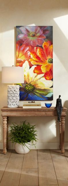 Add a hand-painted canvas to your décor for a look that is truly unique, with our Full Bloom Canvas Artwork. Colorful Paintings, Beautiful Paintings, Hand Painted Canvas, Art Moderne, Canvas Artwork, Painting Inspiration, Flower Art, Modern Art, Art Projects