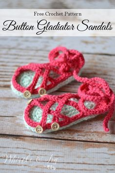 Crochet baby gladiator sandals. FREE crochet pattern; both written and video. COMPLETED on 5-14-16: Fairly straight forward pattern. The heel is the only part that might be confusing for a beginner.