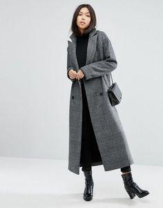 ASOS grey Boyfriend Coat in Check Print