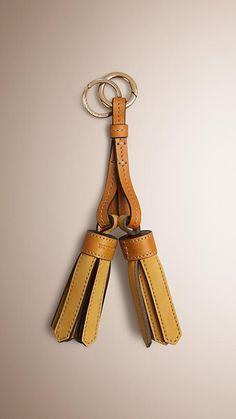 Saffron yellow Leather Tassel Key Charm - Image 1
