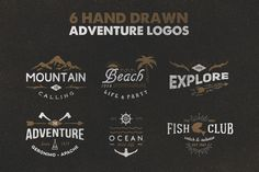 Hand Drawn Vector Adventure Logos / Illustrations - Mountains, beach, adventure, ocean, fishing, camping, and more.