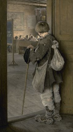 Nikolay Bogdanov-Belsky, at School Doors, 1897 - I find this painting so poignant. Russian Painting, Russian Art, Country School, School Doors, Pics Art, Wow Art, Beautiful Paintings, Oeuvre D'art, Painting & Drawing