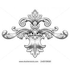 Vintage baroque frame leaf scroll floral ornament engraving border retro pattern antique style swirl decorative design element black and white filigree vector - Shutterstock