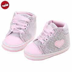 GenialES Säugling Schuhe Leinwand Sneaker Weiches Babyschuhe Anti-Rutsch Sohle Lauflernschuhe Krabbelschuhe Baby Mädchen Jungen 0-12 Monate (*Partner-Link)
