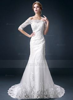 Trumpet/Mermaid Off-the-Shoulder Court Train Beading Appliques Lace Tulle Lace Lace Up Strapless 1/2 Sleeves Hall Reception No Winter Spring Fall Ivory Wedding Dress