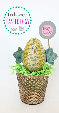 Book Page Easter Egg Chicks via Juggling Act Mama http://jugglingactmama.com/2014/03/book-page-easter-egg-chicks.html #bookpagecrafts #Easter #Eastercrafts