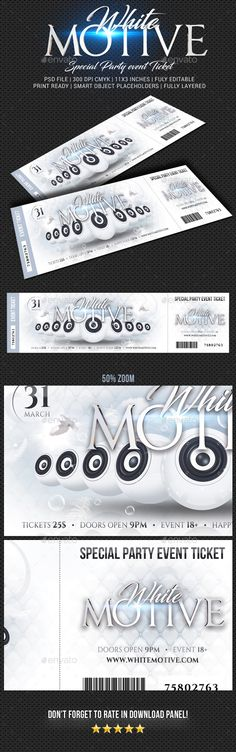 Event Ticket Template PSD, Vector EPS, AI Illustrator Ticket - party tickets templates