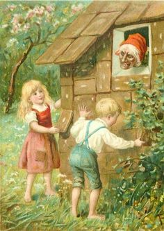 HANSEL & GRETEL witch watches children take ginger-bread off house Hansel Y Gretel, German Fairy Tales, Horrible Histories, Fable, Brothers Grimm, Fairytale Art, Children's Book Illustration, Book Illustrations, Kitsch