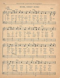"""Antique Sheet Music, """"Home Sweet Home"""" - free printable from KnickofTime.net - perfect for Christmas projects!!"""