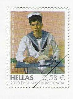 """2010 (11 Φεβρουαρίου) Ελληνική Τέχνη. Δείχνει ένα από τα έργα του Τσαρούχη με θέμα """"Ναύτης που κάθεται στο τραπεζάκι"""" (1980). Going Postal, Stamp Collecting, Postage Stamps, Andorra, Airmail, Postcards, Seals, Greece, Asia"""