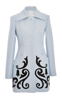 Light Blue Twill Straight Coat With Crystal Embellishment by Honor for Preorder on Moda Operandi