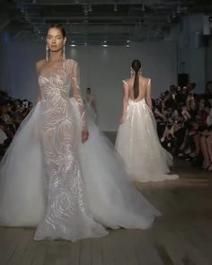 """Berta Style Spring Summer 2019 Bridal Couture Collection """"Miami"""" Gorgeous Embroidered One Shoulder Transparent (for the Show) Mermaid Wedding Dress / Bridal Gown with a Tulle Skirt and . Dream Wedding Dresses, Bridal Dresses, Wedding Gowns, Queen Wedding Dress, Tulle Wedding, Gift Wedding, Boho Wedding, Collection Couture, Bridal Collection"""