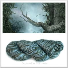 Forest Rain... new limited edition silk yarn color! A mix of rain-like blues and lichen/leaf greens... You can use this for knitting or crocheting! Baby blankets, a sumptuous shawl, scarf, hat, mittens, you name it! (http://www.expressionfiberarts.com/products/forest-rain-silk-yarn.html)