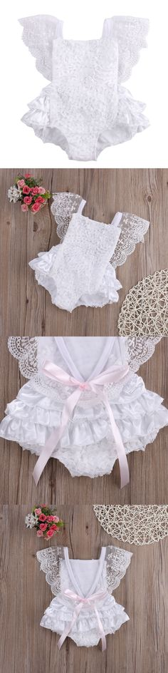 0ec1fc4df Tirred Cotton Bow Cute White Rompers Infant Baby Girl Clothes Lace Floral  Ruffles Baby Girl Romper