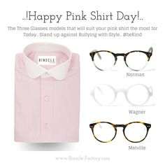 Geek Glasses Binocle-Factory Stand Up Against Bullying with Style Pink Geek Glasses, Hipster Glasses, Prescription Glasses Online, Suits You, Happy Day, Stand Up, Bullying, Light Blue, Geek Stuff