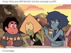 More like, draw your OTP and third wheel like this (Steven being the third wheel)