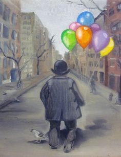 Original oil painting on canvas 10x8 The Balloon by DarlingRomeo, $98.00