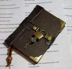 brown leather bound hand stitched journal by johnnythescavenger