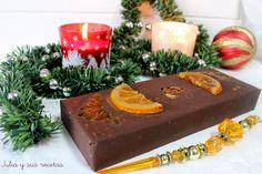 TURRÓN DE CHOCOLATE Y NARANJA CONFITADA Marzipan, Kitchen Recipes, Stevia, Christmas Time, Fondant, Cheesecake, Food And Drink, Favorite Recipes, Sweets