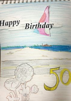 """Visual Journals #12 - Intro Art - """"Happy 50th!"""" - NGHS Room 406"""