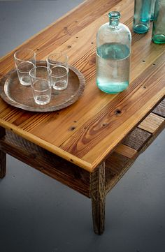 Reclaimed wood furniture custom built by Landrum Tables Charleston SC