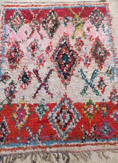 Vintage Moroccan Boucherouite Rug Contemporary Modern Wall Art Painting Tapestry Tribal  4'3 x 5 FT 9 on Etsy, $248.70