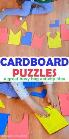 DIY cardboard toddler puzzles. Great busy bag activity and quiet time activity.